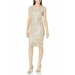 NWT Vince Camuto Gold Sequin Lace Sheath Dress
